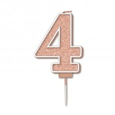 Candle 7.5cm Sparkling Fizz Numeral #4 Rose Gold Pack 1