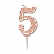Candle 7.5cm Sparkling Fizz Numeral #5 Rose Gold Pack 1