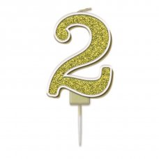 Candle 7.5cm Sparkling Fizz Numeral #2 Gold Pack 1