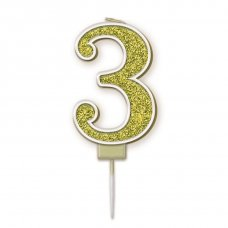 Candle 7.5cm Sparkling Fizz Numeral #3 Gold Pack 1