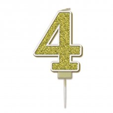 Candle 7.5cm Sparkling Fizz Numeral #4 Gold Pack 1