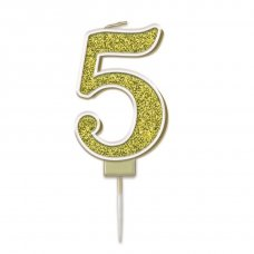 Candle 7.5cm Sparkling Fizz Numeral #5 Gold Pack 1
