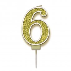Candle 7.5cm Sparkling Fizz Numeral #6 Gold Pack 1