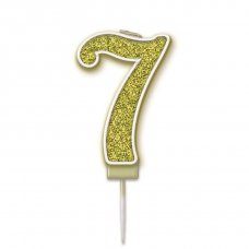 Candle 7.5cm Sparkling Fizz Numeral #7 Gold Pack 1