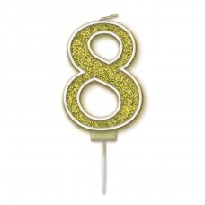 Candle 7.5cm Sparkling Fizz Numeral #8 Gold Pack 1