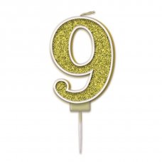 Candle 7.5cm Sparkling Fizz Numeral #9 Gold Pack 1