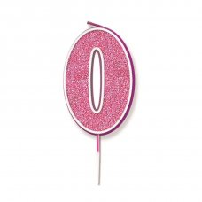 Candle 7.5cm Glitter Numeral #0 Pink Pack 1