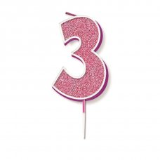 Candle 7.5cm Glitter Numeral #3 Pink Pack 1