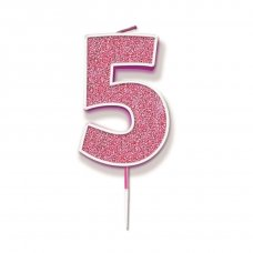 Candle 7.5cm Glitter Numeral #5 Pink Pack 1
