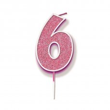 Candle 7.5cm Glitter Numeral #6 Pink Pack 1
