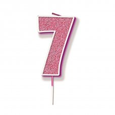 Candle 7.5cm Glitter Numeral #7 Pink Pack 1