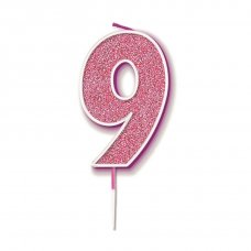 Candle 7.5cm Glitter Numeral #9 Pink Pack 1