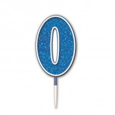 Candle 7.5cm Glitter Numeral #0 Blue Pack 1