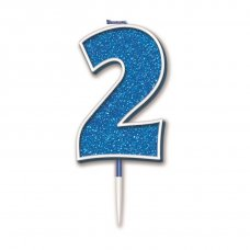 Candle 7.5cm Glitter Numeral #2 Blue Pack 1