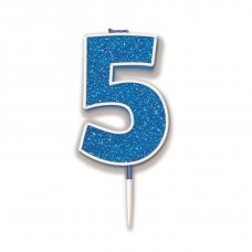 Candle 7.5cm Glitter Numeral #5 Blue Pack 1