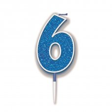 Candle 7.5cm Glitter Numeral #6 Blue Pack 1
