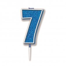Candle 7.5cm Glitter Numeral #7 Blue Pack 1