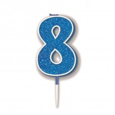 Candle 7.5cm Glitter Numeral #8 Blue Pack 1