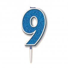 Candle 7.5cm Glitter Numeral #9 Blue Pack 1