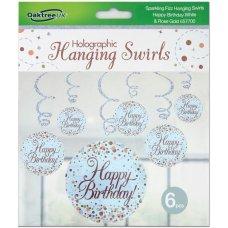 Hanging Swirl Sparkling Fizz H.Birthday Rose Gold Pack 6