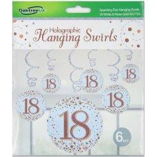 Hanging Swirl Sparkling Fizz #18 Rose Gold Pack 6