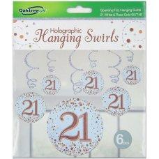 Hanging Swirl Sparkling Fizz #21 Rose Gold Pack 6