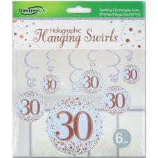Hanging Swirl Sparkling Fizz #30 Rose Gold Pack 6