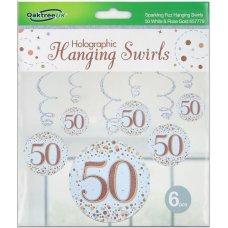 Hanging Swirl Sparkling Fizz #50 Rose Gold Pack 6