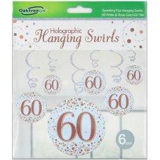 Hanging Swirl Sparkling Fizz #60 Rose Gold Pack 6