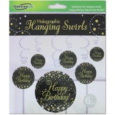 Hanging Swirl Sparkling Fizz H.Birthday Black/Gold Pack 6