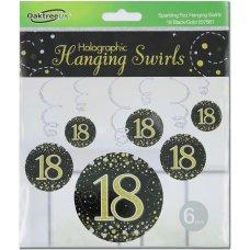 Hanging Swirl Sparkling Fizz #18 Black/Gold Pack 6
