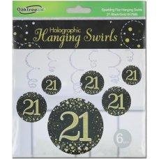Hanging Swirl Sparkling Fizz #21 Black/Gold Pack 6