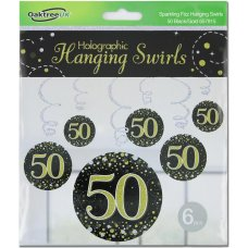 Hanging Swirl Sparkling Fizz #50 Black/Gold Pack 6