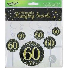 Hanging Swirl Sparkling Fizz #60 Black/Gold Pack 6