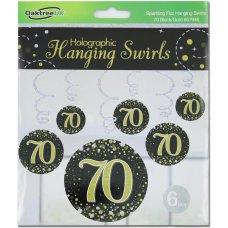 Hanging Swirl Sparkling Fizz #70 Black/Gold Pack 6