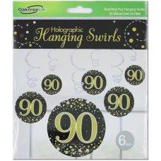 Hanging Swirl Sparkling Fizz #90 Black/Gold Pack 6