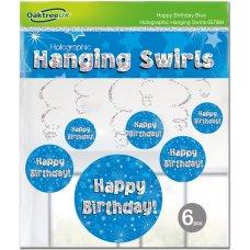 Hanging Swirl Holographic Happy Birthday Blue Pack 6