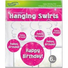 Hanging Swirl Holographic Happy Birthday Pink Pack 6